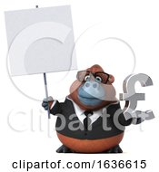 3d Business Orangutan Monkey Holding A Pound Currency Symbol On A White Background by Julos