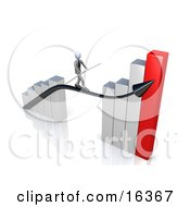 Corporate Businessman Holding A Balance Beam While Walking On An Increase Black Arrow On A Silver And Red Bar Graph Chart Clipart Illustration Graphic