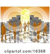 Poster, Art Print Of Group Of Orange People Carrying Briefcases Towards An Entrance Framed By Bar Graph Charts With A Dollar Symbol Shining Like The Sun