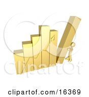 Gold Person Pushing Up The Last Column On A Bar Graph Chart Symbolizing Effort And Success