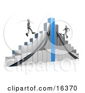 Two Competitive Businessmen Racing Up Different Sides Of A Chrome And Blue Bar Graph Chart