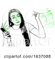 Black And White Woman Using A Phone With Facial Recognition Software