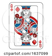 Playing Card Queen Of Diamonds Red Blue And Black