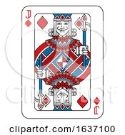 Poster, Art Print Of Playing Card Jack Of Diamonds Red Blue And Black