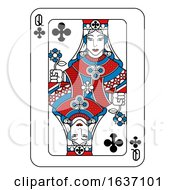 Poster, Art Print Of Playing Card Queen Of Clubs Red Blue And Black