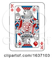 Playing Card King Of Diamonds Red Blue And Black