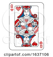 Poster, Art Print Of Playing Card Queen Of Hearts Red Blue And Black