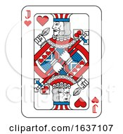 Poster, Art Print Of Playing Card Jack Of Hearts Red Blue And Black