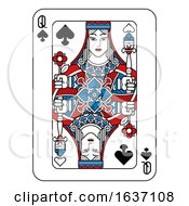 Poster, Art Print Of Playing Card Queen Of Spades Red Blue And Black