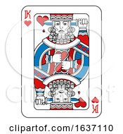 Playing Card King Of Hearts Red Blue And Black