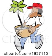 Cartoon Black Male Gardener Carrying A Potted Plant