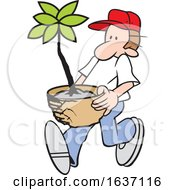 Cartoon White Male Gardener Carrying A Potted Plant
