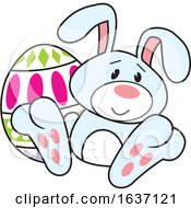 Poster, Art Print Of Blue Easter Bunny With An Egg