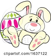 Poster, Art Print Of Yellow Easter Bunny With An Egg