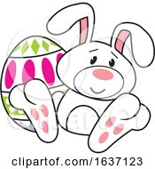 Poster, Art Print Of White Easter Bunny With An Egg