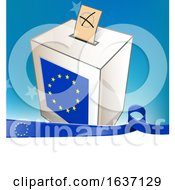 Ballot In The Slot Of A European Flag Election Voting Box And Ribbon Banner