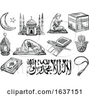 Sketched Black And White Islam Icons