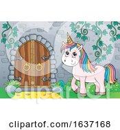 Unicorn By A Castle Door