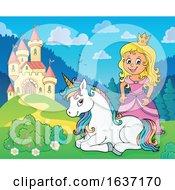 Princess And Unicorn Near A Castle