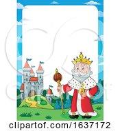 King Standing Near A Castle Border