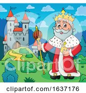 King Standing Near A Castle by visekart
