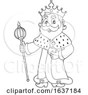 Black And White King Holding A Scepter