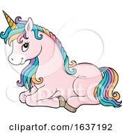 Cute Resting Unicorn With Rainbow Hair by visekart