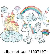 Cute Unicorn Castle And Rainbow by visekart