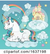 Cute Unicorn Resting On A Cloud Near A Castle In The Sky