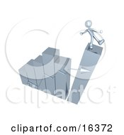 Silver Person Slipping And About To Fall While Standing On Top Of A Bar Graph Chart That Is Collapsing Symbolizing Bankruptcy And Failure Clipart Illustration Graphic