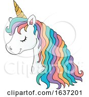 Cute Unicorn Head With Rainbow Hair