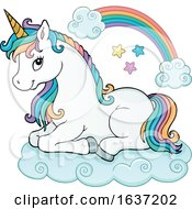Cute Resting Unicorn With Rainbow Hair
