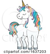 Cute Unicorn With Rainbow Hair