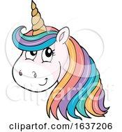 Cute Unicorn Head With Rainbow Hair by visekart