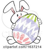 Cartoon White Easter Bunny With A Giant Egg