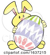 Poster, Art Print Of Cartoon Yellow Easter Bunny With A Giant Egg