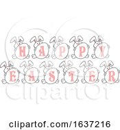 Bunny Rabbits With Eggs Spelling Happy Easter