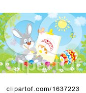 Easter Bunny Painting An Egg On Canvas