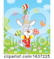 Poster, Art Print Of Easter Bunny Balancing Easter Eggs
