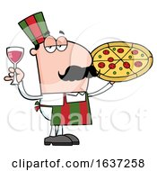 Pleased Pizza Chef Man With A Glass Of Wine And Pie