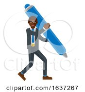 Black Business Man Holding Pen Mascot Concept