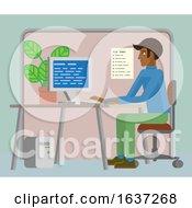 Man Working At Desk In Office Cartoon