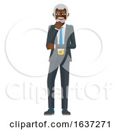 Mature Black Business Man Thinking Mascot Concept
