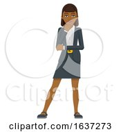 Business Woman Thinking Mascot Concept