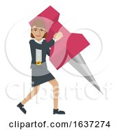Business Woman Holding Thumb Tack Pin Mascot