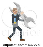 Business Man Holding Spanner Wrench Mascot Concept