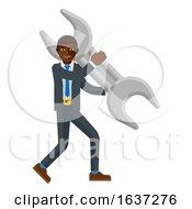 Poster, Art Print Of Black Business Man Holding Spanner Wrench Mascot