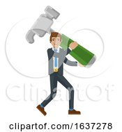 Poster, Art Print Of Business Man Holding Hammer Mascot Concept