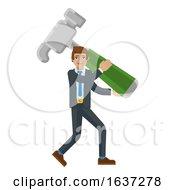 Business Man Holding Hammer Mascot Concept