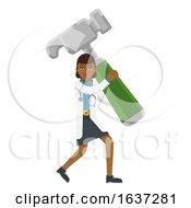 Asian Doctor Woman Holding Hammer Mascot